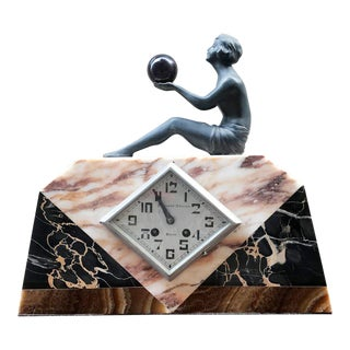 Marble Desk Clock by Pronost Freres, 1920s For Sale