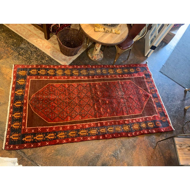 "Hand-Tied Red Persian Kolia Rug 4'11 X 8'10"" For Sale In Denver - Image 6 of 13"