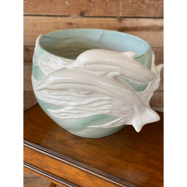 1970s Sculptural Italian Dolphin Ceramic Bowl For Sale - Image 12 of 12