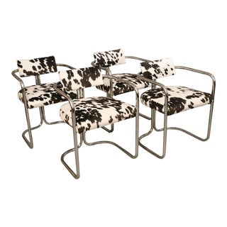 Mid-Century Chrome & Cow Print Chairs - Set of 4 For Sale