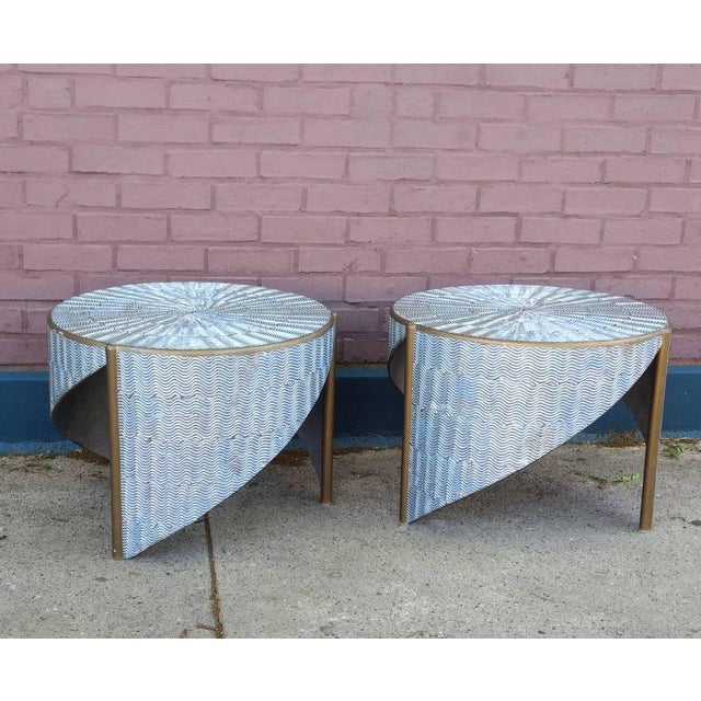 Ooak 1980s Artisan Angular Metallic Textural Silver and Gold Side Tables - a Pair For Sale - Image 9 of 9
