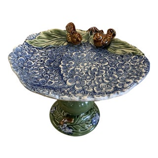 "Majolica Pottery Compote,"" Bird Bath of Hydrangeas"" For Sale"