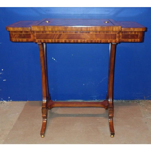Wood 20th Century Federal Maitland Smith Reversible Inlaid Game Table For Sale - Image 7 of 11