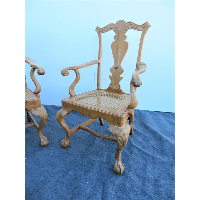 Early 20th Century English Pine Chippendale Carved Arm Chairs - a Pair For Sale - Image 4 of 9