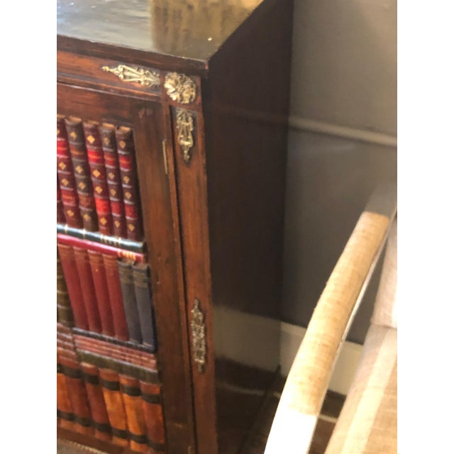 19th Century Antique Regency Rosewood Grain Painted Bookcase Cabinet For Sale In Philadelphia - Image 6 of 12