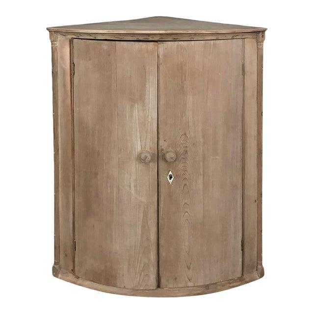 19th Century Swedish Stripped Pine Corner Cabinet For Sale