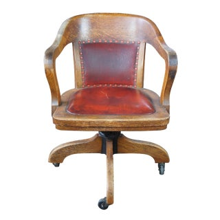 Early 20th Century Antique Quartersawn Oak Leather Bankers Rolling Office Desk Chair For Sale