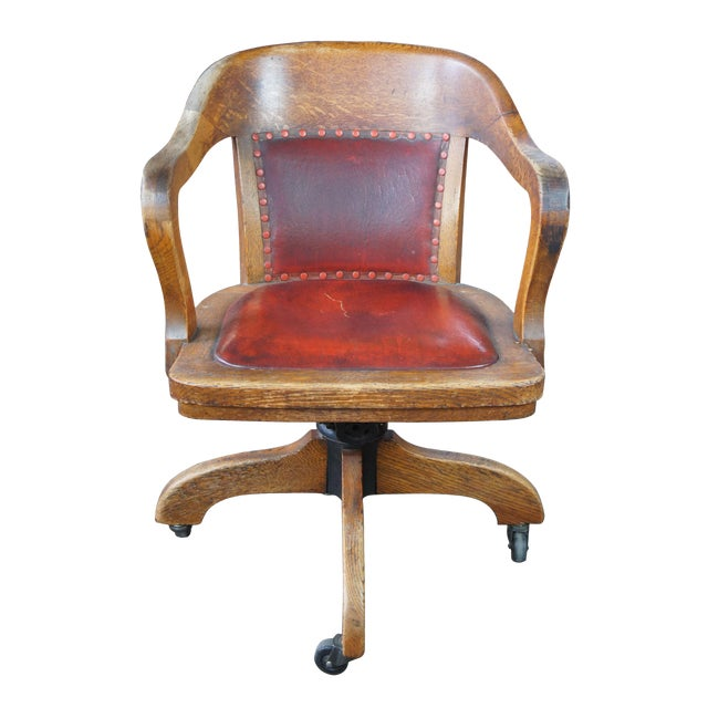 Early 20th Century Antique Quartersawn Oak Leather Bankers Rolling Office Desk Chair
