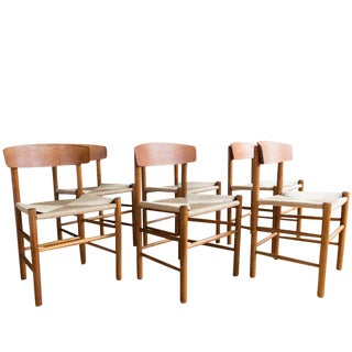 "Set of Six ""J39"" Teak and Oak Dining Chairs by Børge Mogensen"