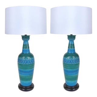 "Bitossi Ceramiche ""Rimini Blu"" Lamps by Aldo Londi, Italian C1960 - a Pair For Sale"