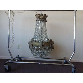 Antique Bronze and Crystal Chandelier With Beautiful Bronze Rim Details Preview