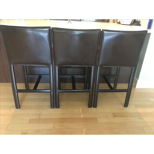 RH Brown Leather Counter Stools - Set of 3 - Image 6 of 6