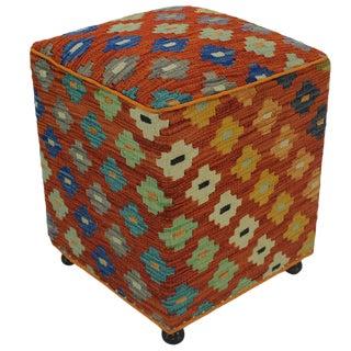 Hammer Orange Handmade Kilim Upholstered Ottoman For Sale