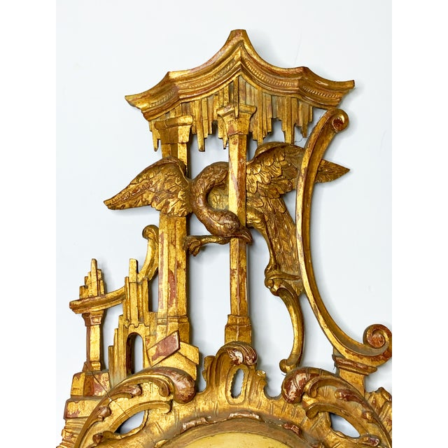 A 19th century Italian Barometer. Wall hanging, Large barometer, with elaborate rococo style, with fine rocaille...