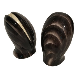 Ceramic Oyster Salt and Pepper Shakers - a Pair