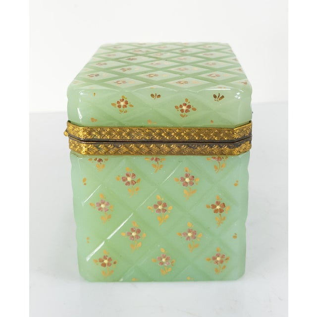 French French Bronze Mounted Celadon Green Opaline Trinket Box For Sale - Image 3 of 10