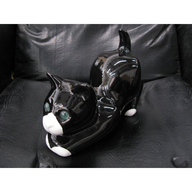 Alcobaca Black & White Ceramic Kitty Cat For Sale - Image 10 of 10
