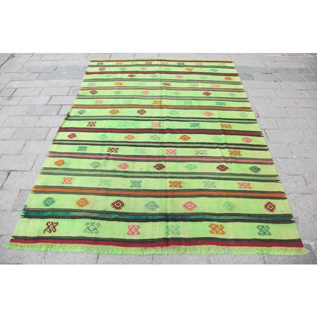 Turkish Overdyed Green Color Kilim - 7'4'' x 5'11'' For Sale - Image 11 of 11