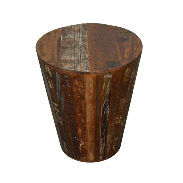 Boho Chic Reclaimed Rustic Barrel Stool End Table For Sale