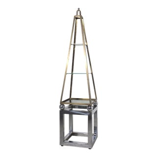 Obelisk Etagere in Chrome, Brass and Smoked Glass For Sale