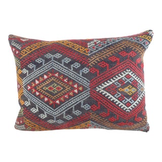 Vintage Red and Orange Woven Kilim Bolster Pillow For Sale