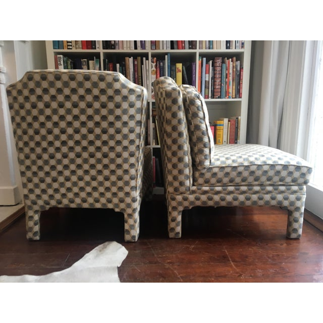 Geometric, cotton canvas slipper chairs add flair and texture to most interiors. Classic shape with a twist of modern...