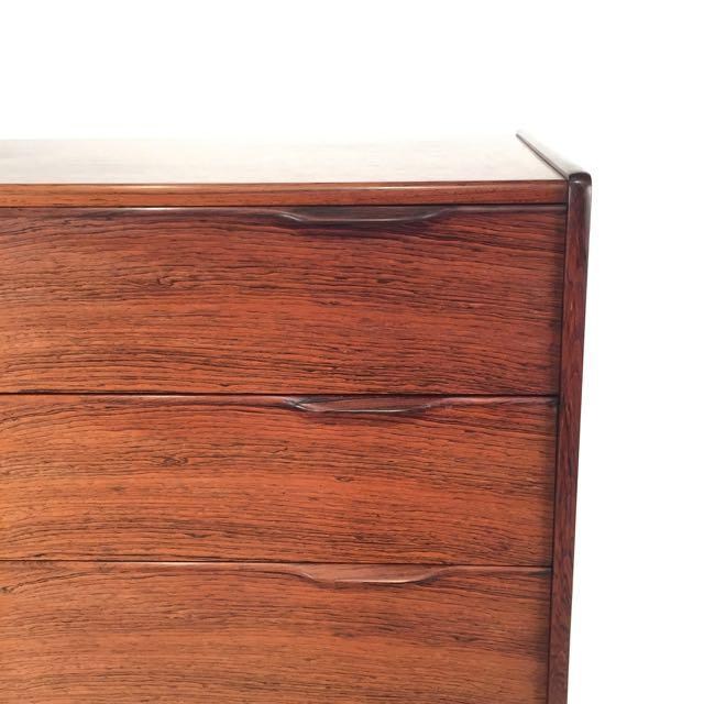 Beautiful vintage Danish rosewood six drawer dresser. Each drawer features dovetail joinery and wonderfully crafted finger...
