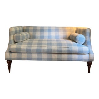 English Country House Style Blue and White Check Settee