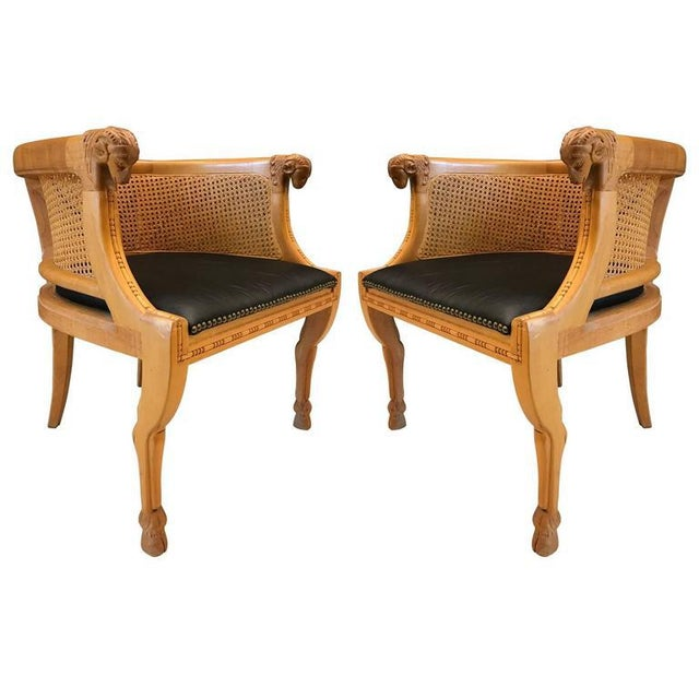 Maple Pair of Neoclassical Style Rams Head Birchwood Bergeres Chairs For Sale - Image 7 of 7