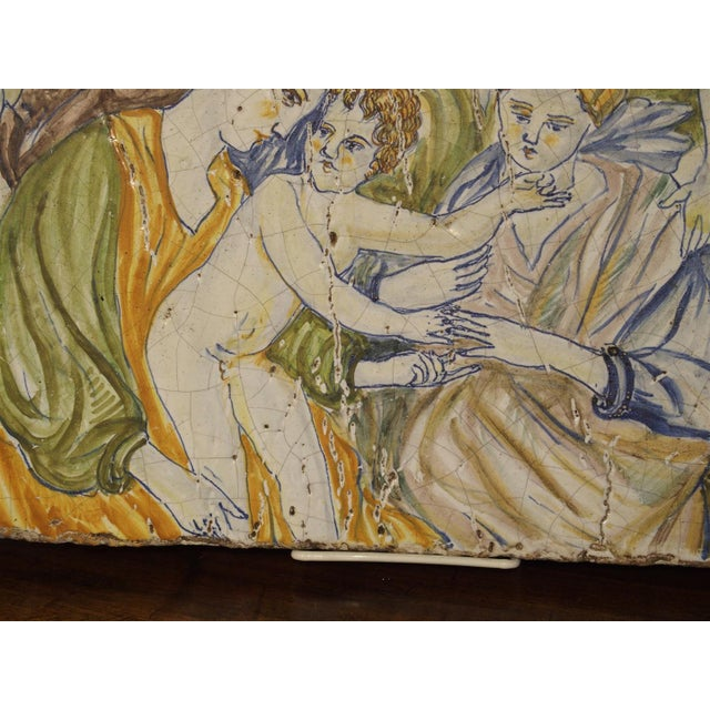 Antique Painted Tile from Italy, 17th Century For Sale In Dallas - Image 6 of 7