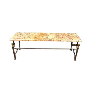 1920s Vintage French Art Deco Iron & Marble Coffee Table For Sale