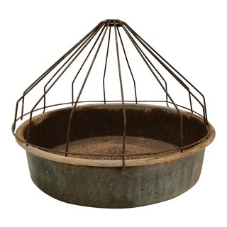 Vintage Farmhouse Domed Galvanized Metal Chicken Feeder For Sale