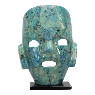 Beautiful Tessellated Stone Mayan Mask For Sale