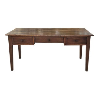 19th Century Country French Rustic Oak Desk For Sale