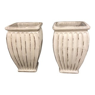 Pair of Indoor/Outdoor White Glazed Clay Planters For Sale
