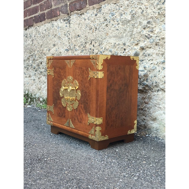 Vintage Chinoiserie Wood & Brass Jewelry Box - Image 4 of 6