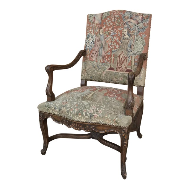 19th Century French Louis XV Armchair With Tapestry For Sale