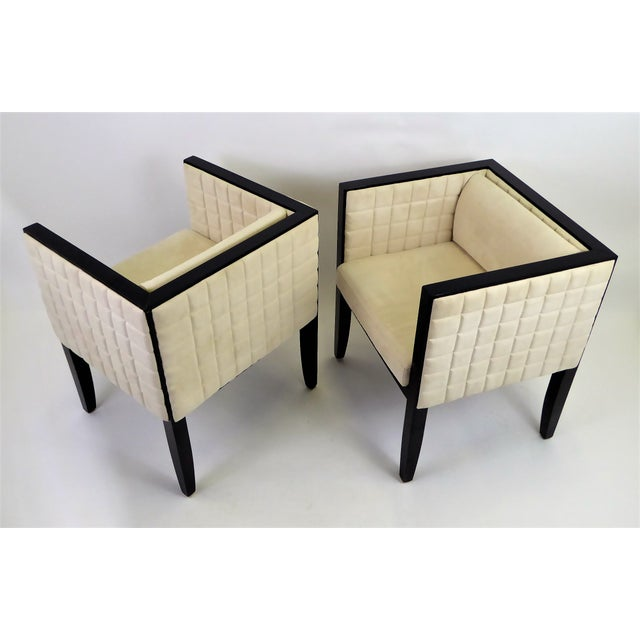 1990s Pietro Costantini Quilted Ultrasuede Yale Armchairs - a Pair For Sale - Image 12 of 12