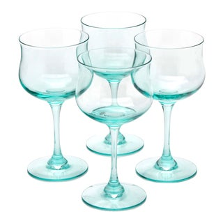 Pale Blue Blown Glass Champagne Stemware by Lenox, Set of 4 For Sale
