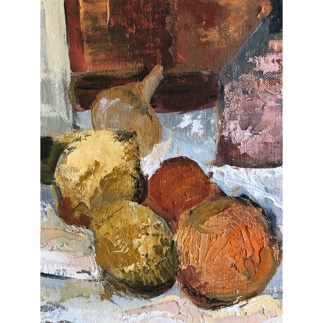 1960s Traditional Still Life Painting With Wine and Citrus on Board For Sale - Image 4 of 7