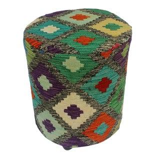 Arshs Danica Black/Ivory Kilim Upholstered Handmade Ottoman