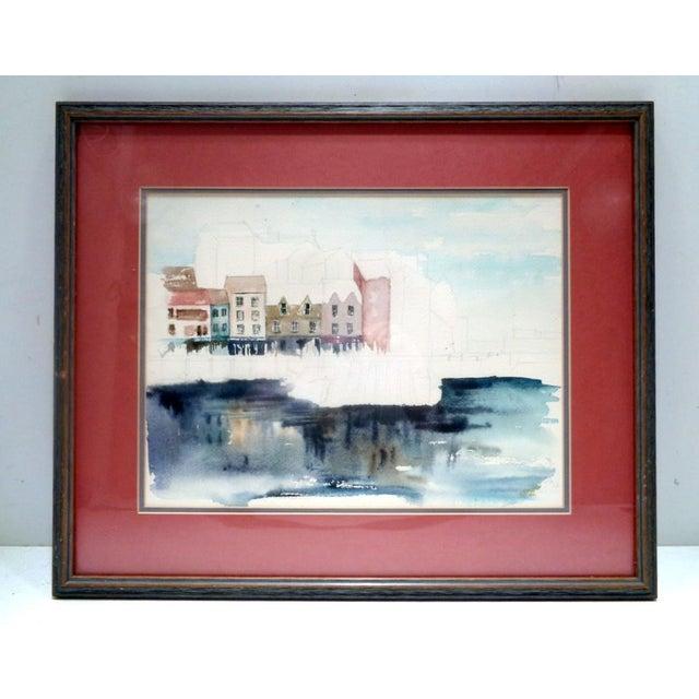 "Karen Stevens (Washington/Texas, 1950-2017) Original Watercolor Seattle ""Warf"" For Sale - Image 9 of 9"