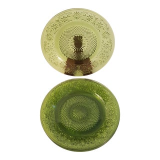 Indiana Glass Spring Green Daisy Salad Plate, Set of 4