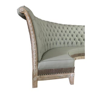 Grey Leather Tufted Banquette With Crocodile Embossed Settee Preview