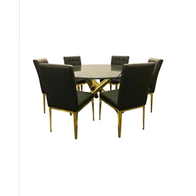 Round Glass and Brass Dining Table and Black Leather Chairs Set For Sale - Image 13 of 13