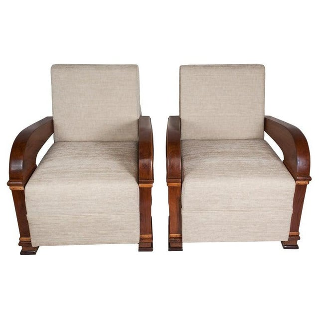 Art Deco Upholstered Teak Loveseat & Chairs Living Room Set - 3 Pc. For Sale - Image 4 of 11