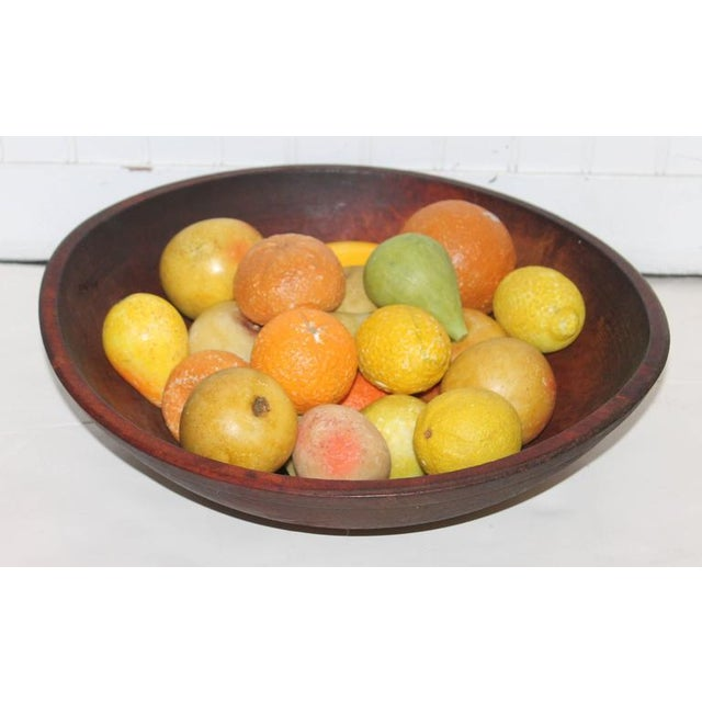 19th Century Wood Butter Bowl with Collection, 24 Pieces Stone Fruit - Image 2 of 9