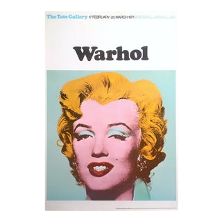 "Andy Warhol Rare Vintage 1971 Lithograph Print Tate Gallery London Iconic Pop Art Exhibition Poster "" Marilyn "" 1964 For Sale"