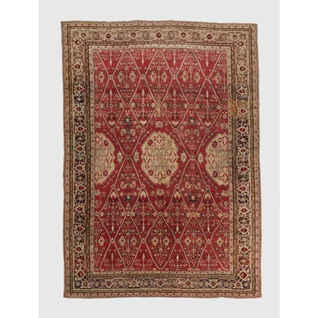 Late 19th Century Red Ground Agra Carpet - 7′9″ × 10′10″ For Sale In Los Angeles - Image 6 of 6
