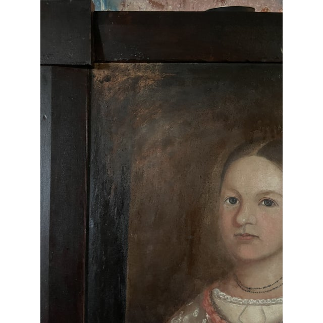 Early 19th Century American Folk Art Portrait Oil Painting of a Girl, Framed For Sale In Minneapolis - Image 6 of 13
